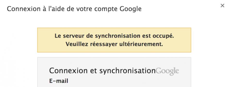le serveur de synchronisation est occupé google chrome