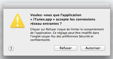 iTunes connexion entrante