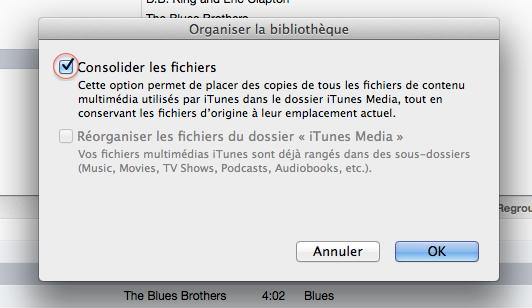 iTunes déplacer dossier