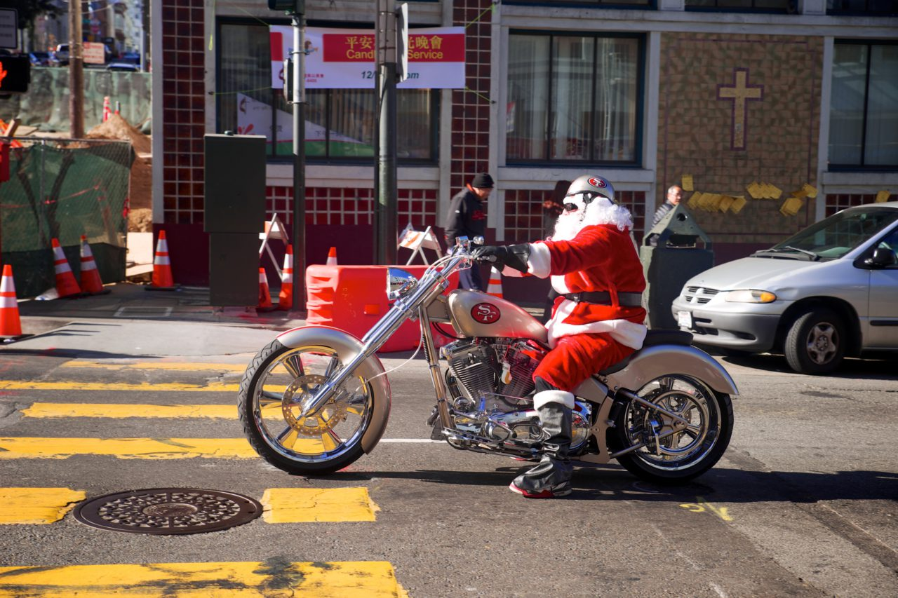 san francisco christmas biker