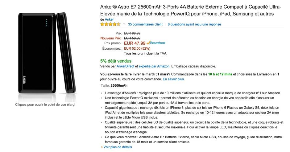 amazon batterie anker astro E7