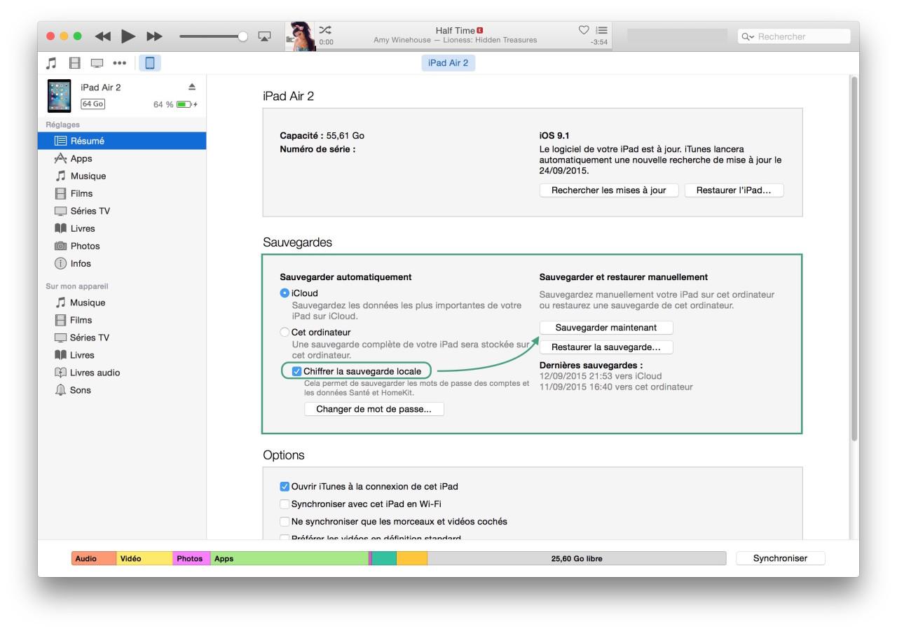 Chiffrer sauvegarde iOS sur iTunes