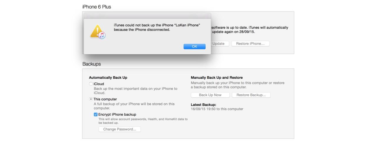 iOS 9 sauvegarder iTunes