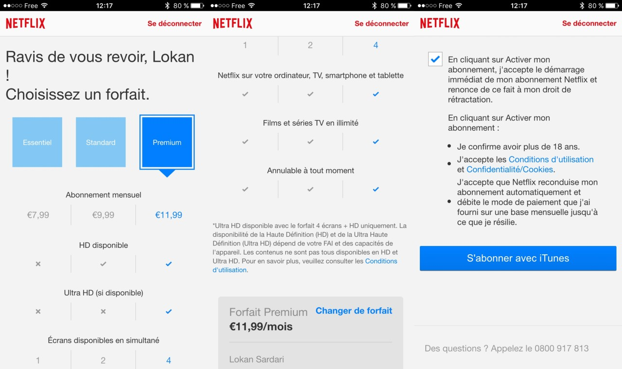 Netflix abonnement iTunes iPhone