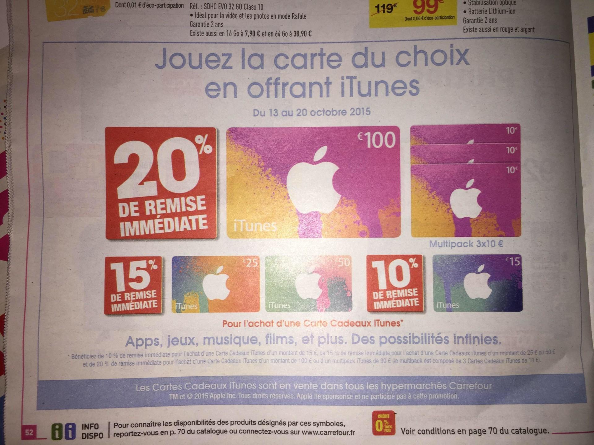 Carte Carrefour Prepayee.Des Cartes Itunes En Promotion Chez Carrefour
