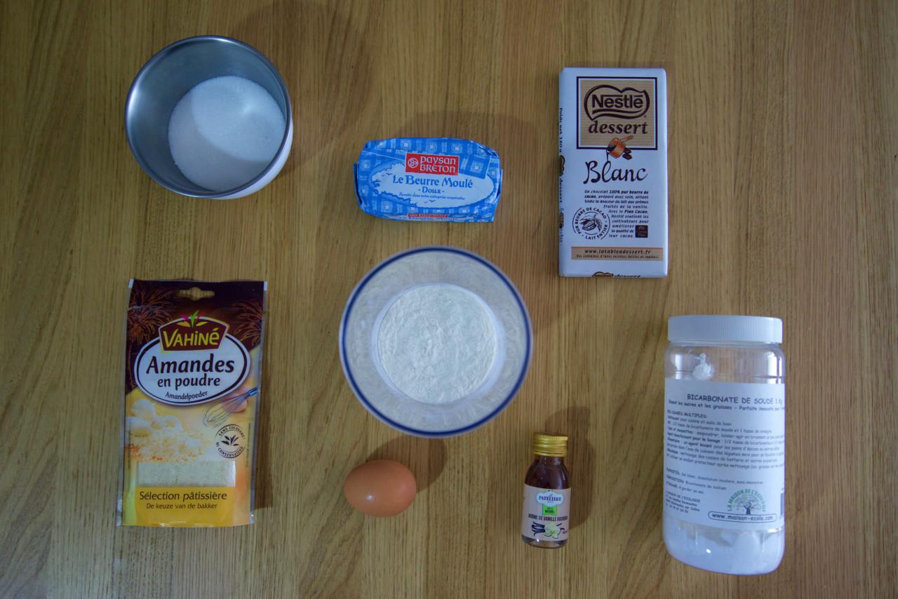 ingrédients cookies chocolat