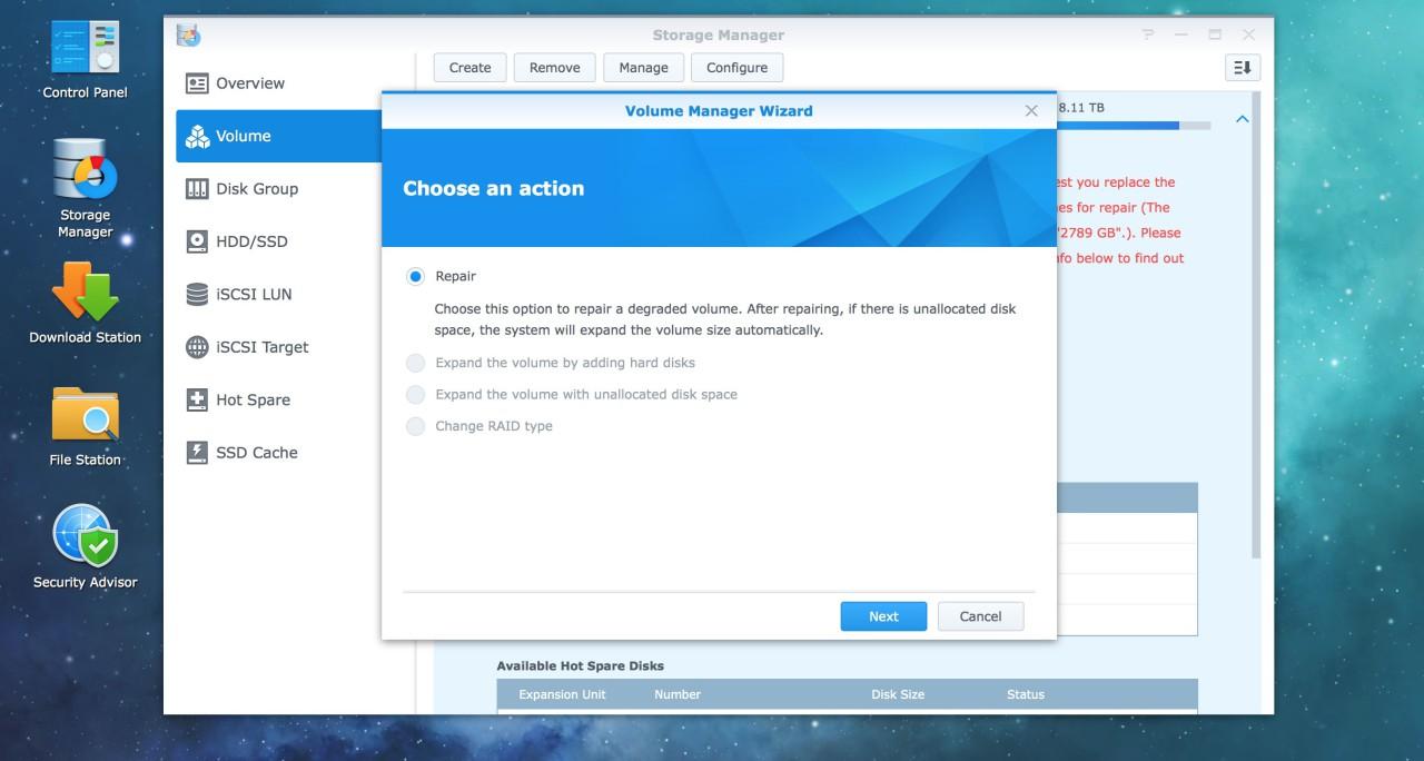 remplacer disque dur synology RAID repair