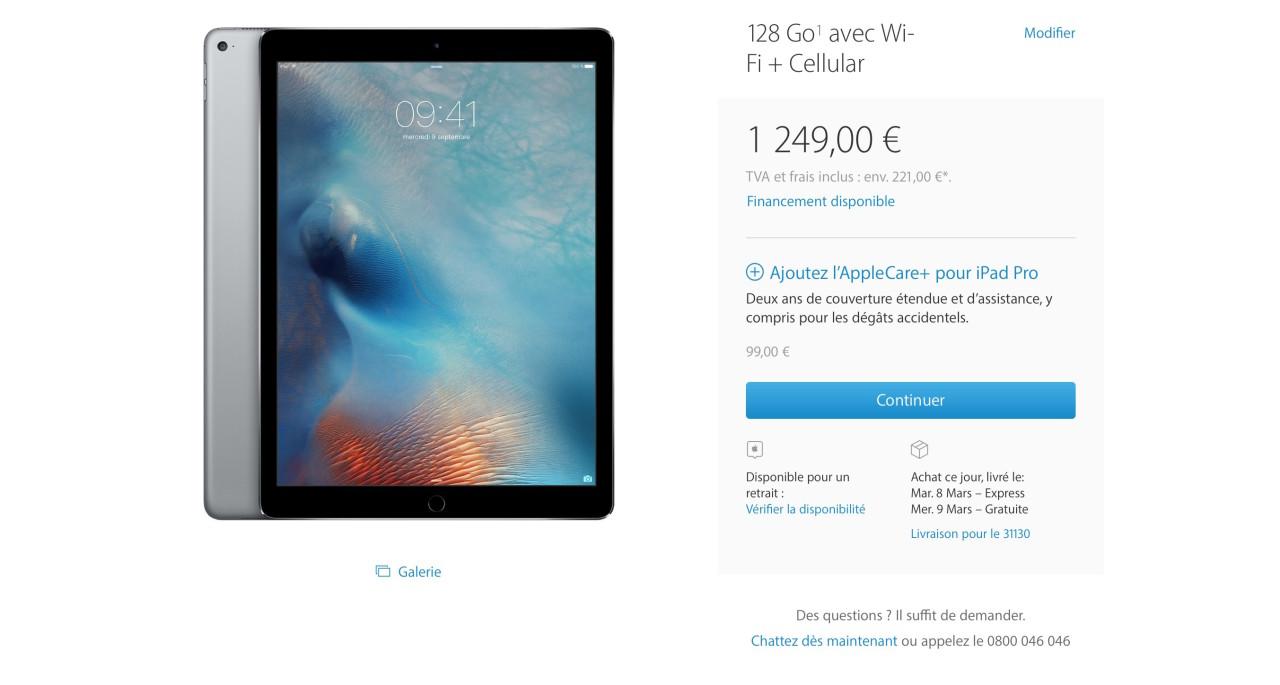 vente iPad Pro 128 Go Cellulaire