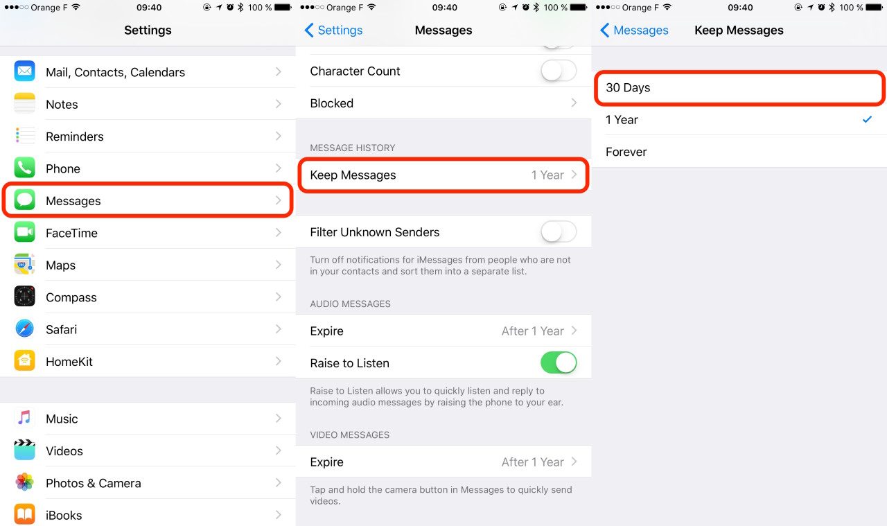 iOS Settings Keep Messages
