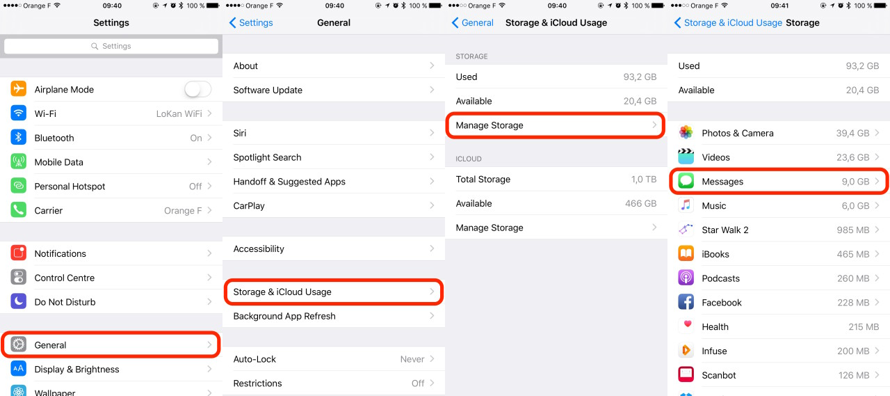 iOS Settings Messages Local Storage