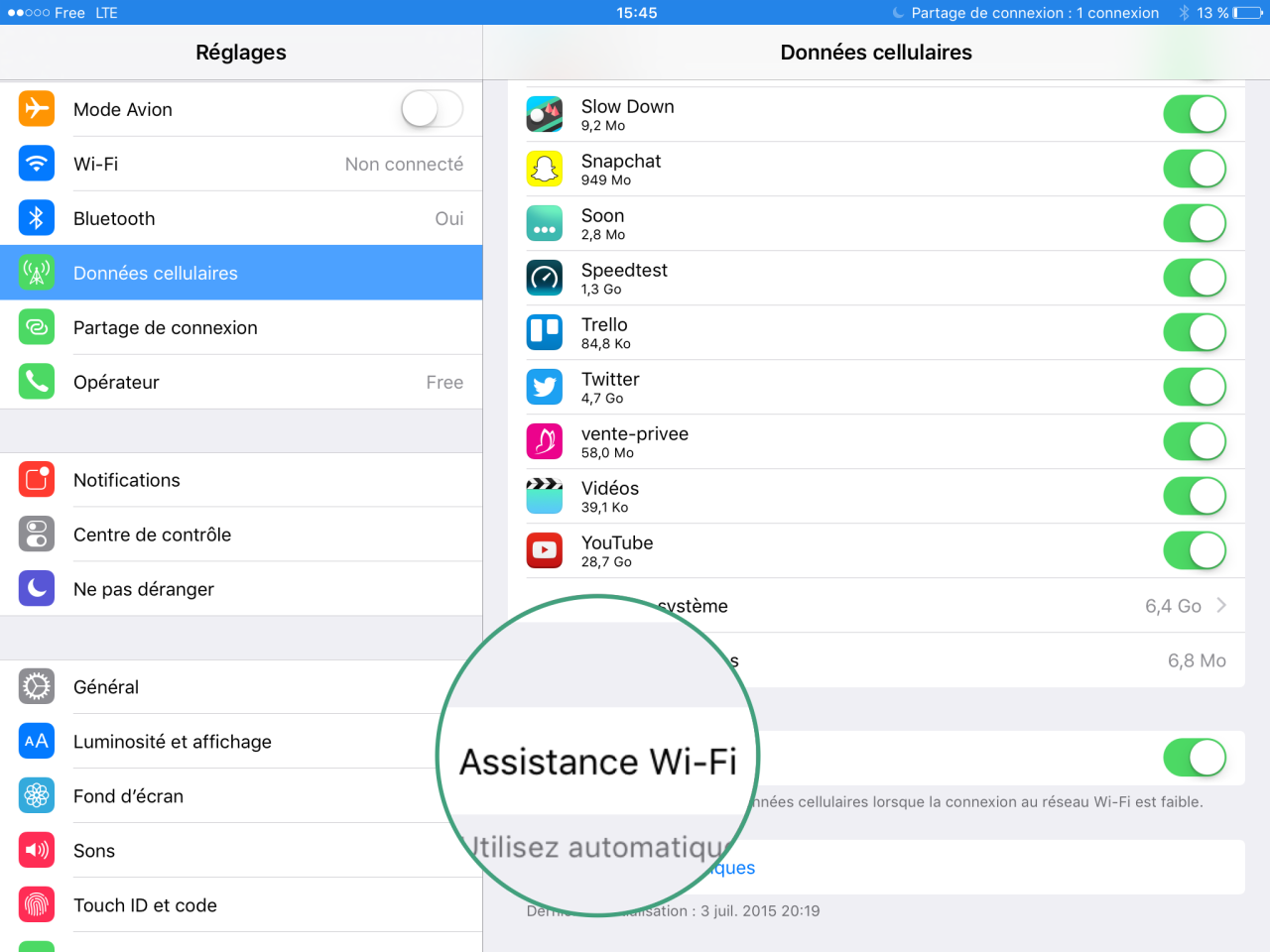 Assistance WiFi iOS 9