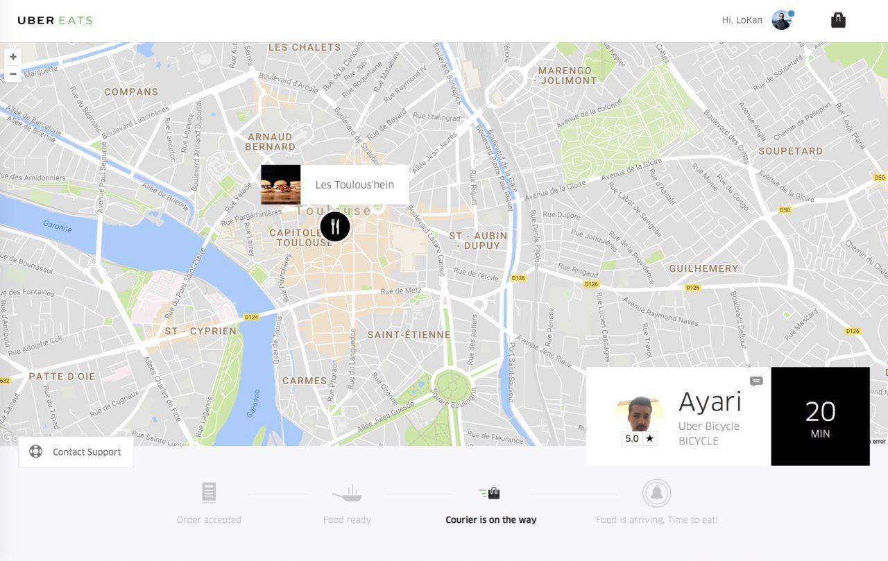 suivi web UberEATS