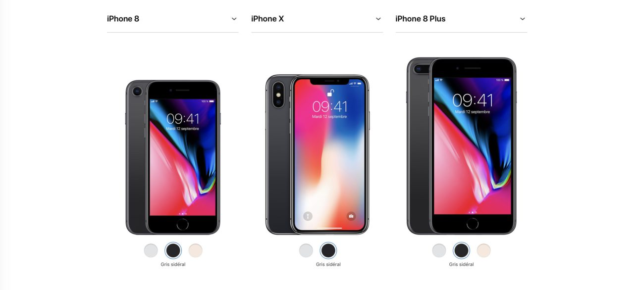 comparer iPhone X iPhone 8