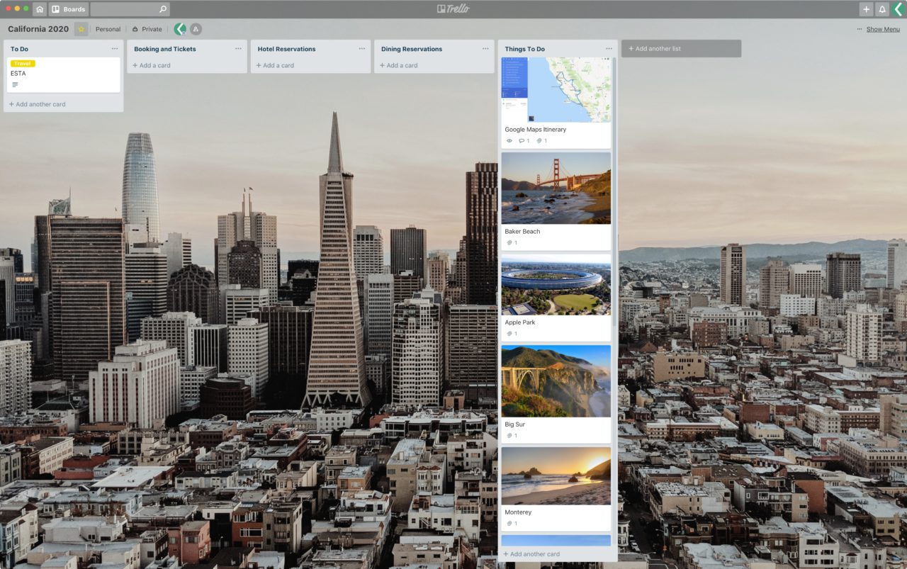 lokan trello travel california 2020