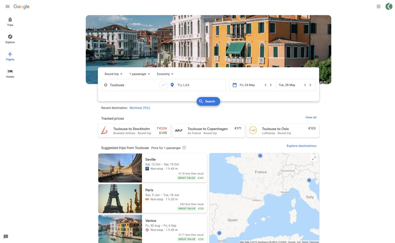 google flights prix avion