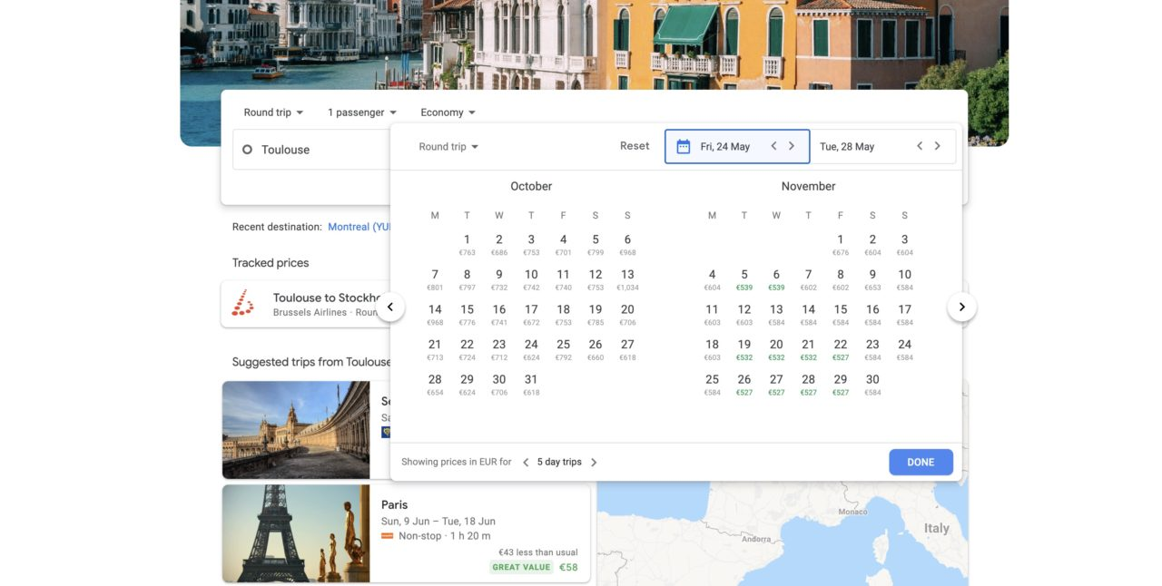 google flights tarifs