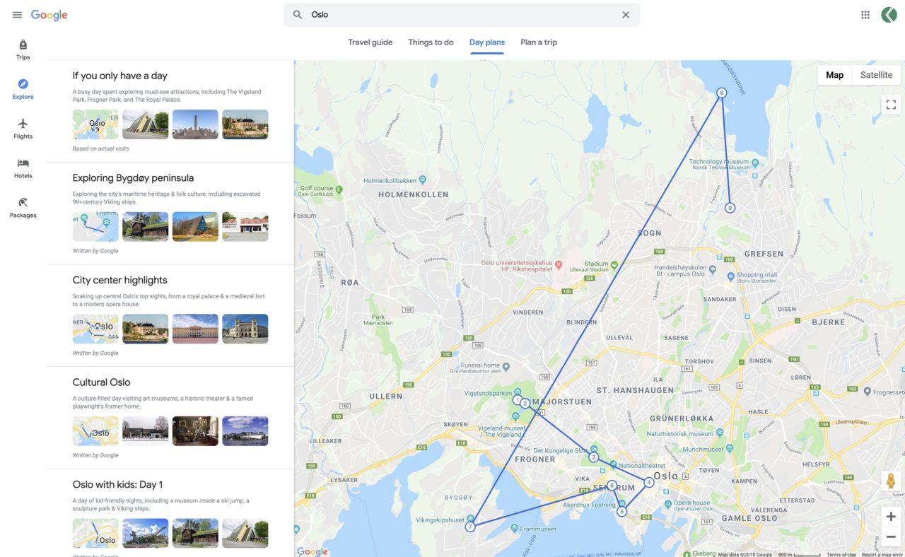 google travel day plans