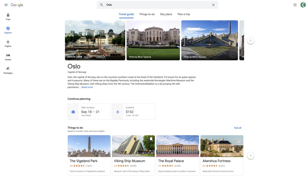 voyage google travel oslo