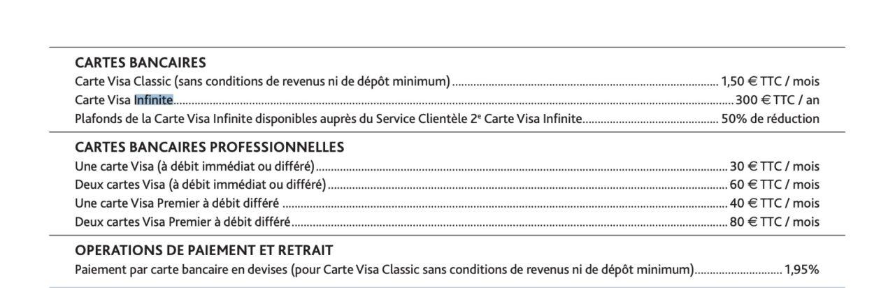 visa infinite boursorama