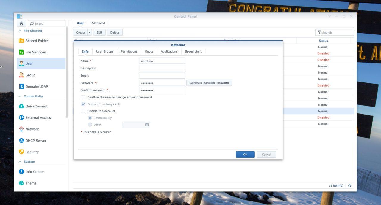 synology creation utilisateur netatmo