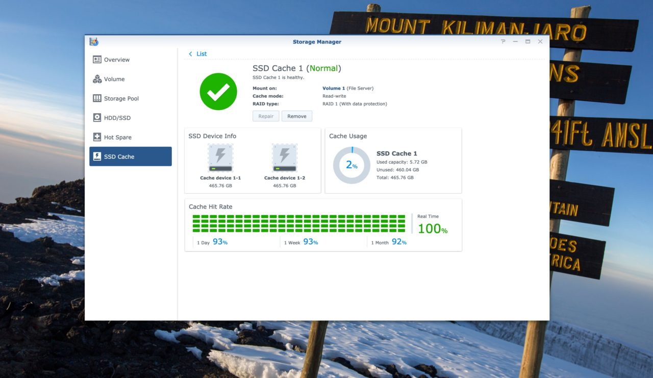 Synology SSD cache Storage manager