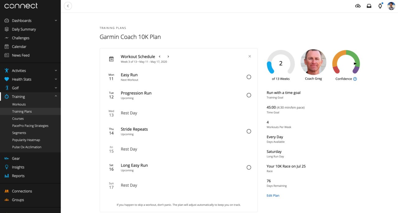 garmin coach running