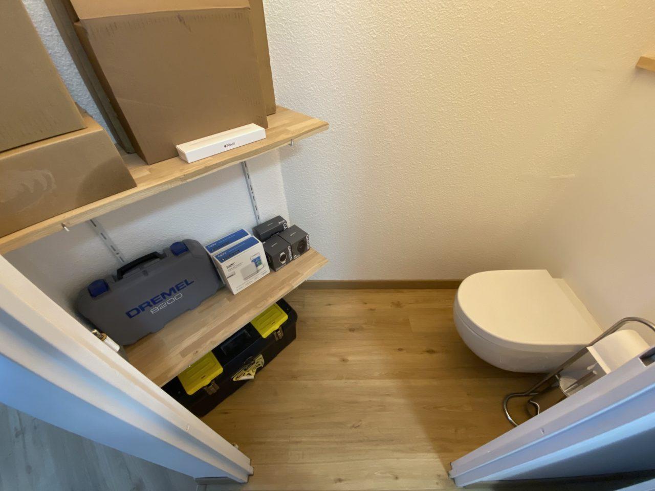 installation etageres toilettes