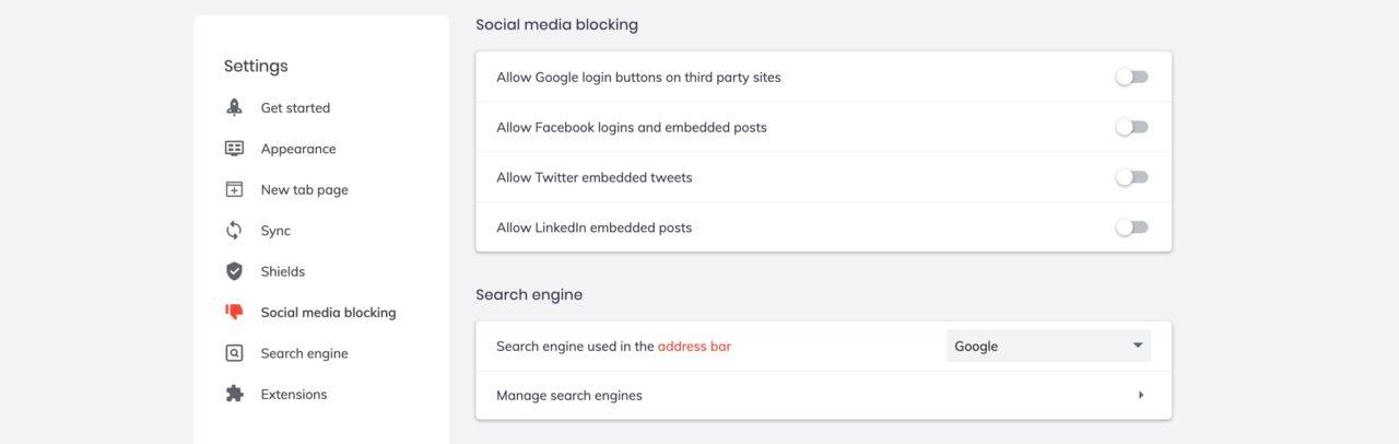 brave social media blocking